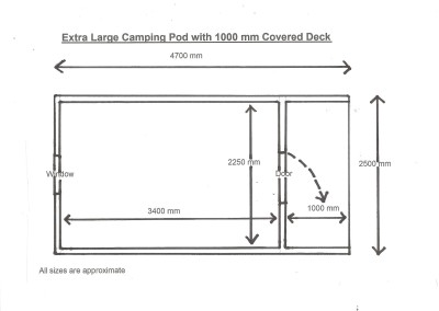 Plan Extra Large Camping Pod with 1000 mm Covered Deck