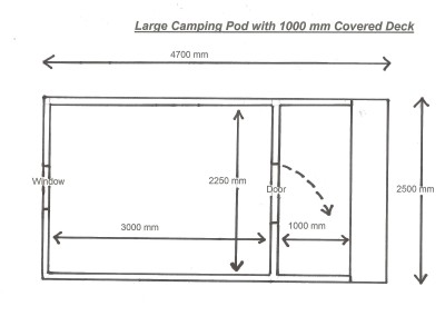Plan Large Camping Pod with 1000 mm Covered Deck